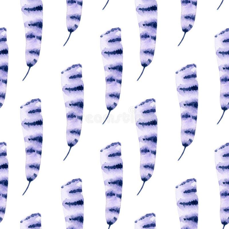 Modello viola senza cuciture della piuma dell'acquerello illustrazione di stock