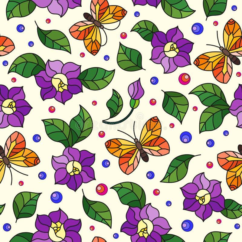 Modello vivo dell'illustrazione senza cuciture con i fiori porpora e la farfalla arancio su fondo leggero illustrazione di stock