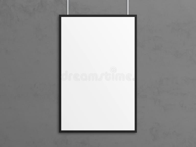 Modello vuoto del manifesto del tabloid dell'illustrazione 3D con la struttura nera illustrazione di stock