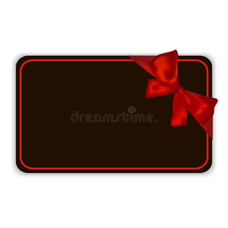 Modello vuoto nero della carta di regalo con il nastro rosso e un arco, illustrazione di vettore illustrazione vettoriale
