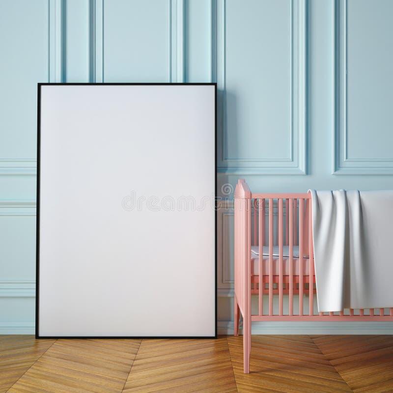 Modellplakat in einem Kinderzimmer 3d vektor abbildung