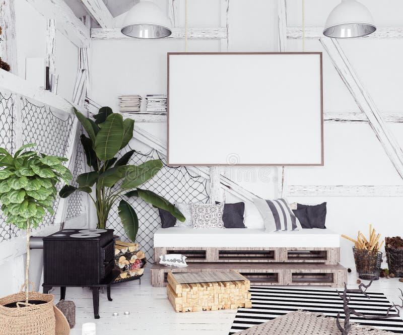 Modellplakat im Dachboden Innen, skandinavische boho Art vektor abbildung