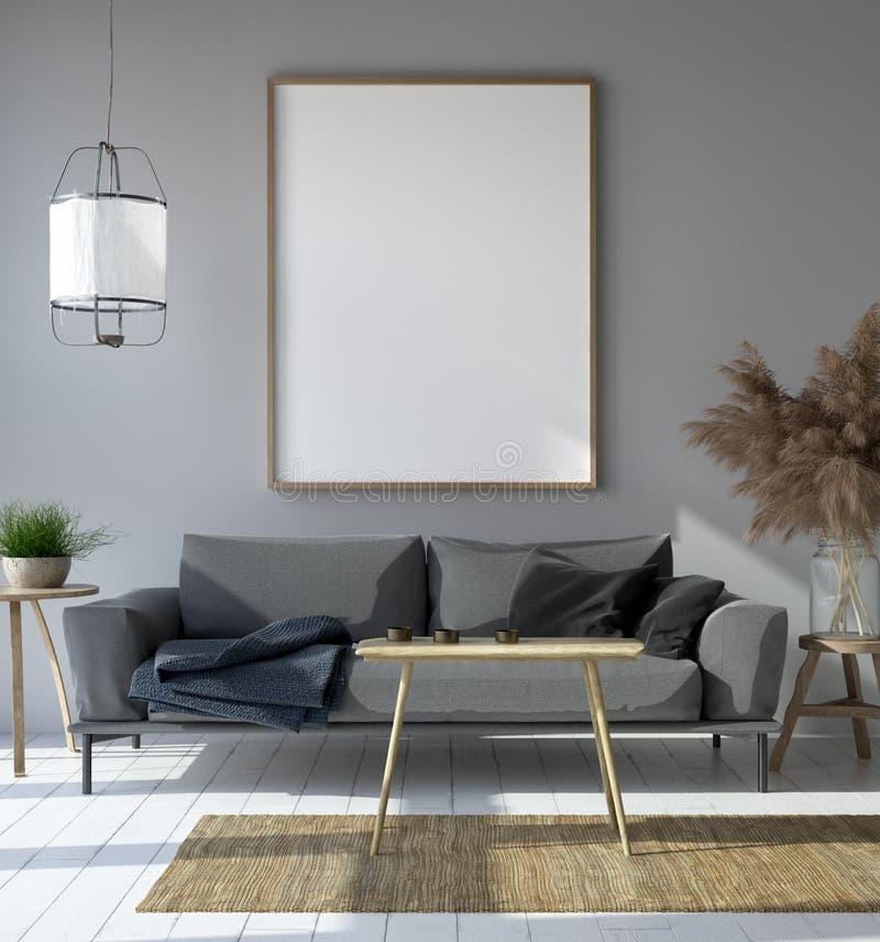 Modellplakat im Hippie-Wohnzimmerinnenraum, skandinavische Art lizenzfreie abbildung