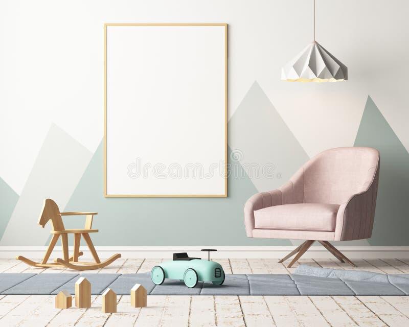 Modellplakat im Kind-` s Raum in den Pastellfarben Skandinavische Art Abbildung 3D vektor abbildung