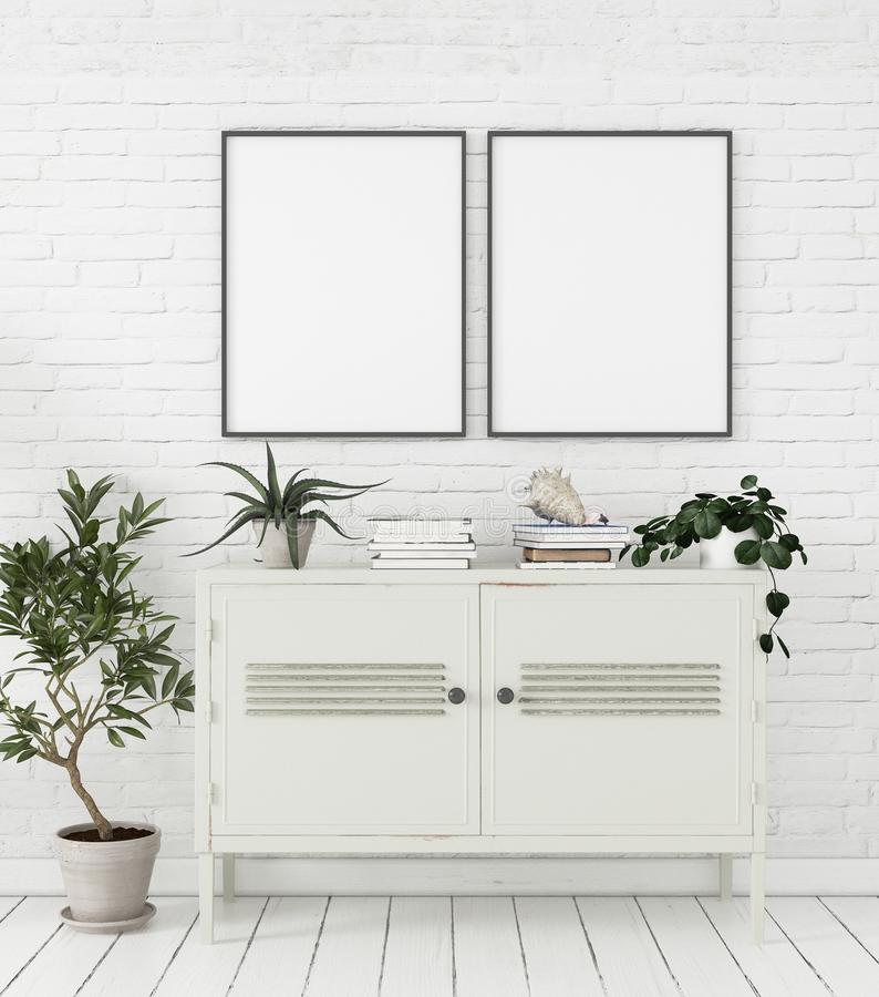 Modellplakat im skandinavischen Artausgangsinnenraum mit Kommode und Anlagen lizenzfreie abbildung
