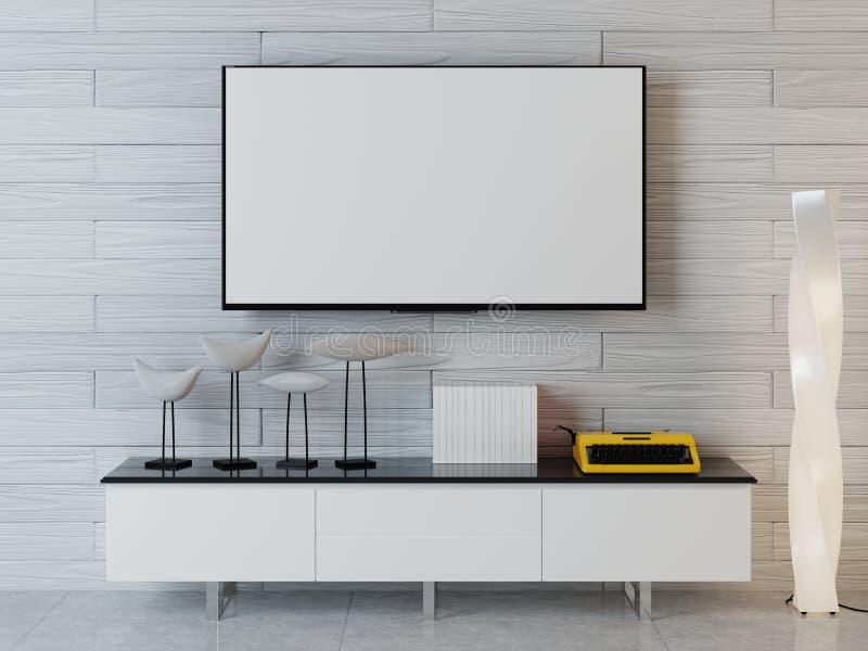 Modellplakat mit der Fernseheinheit im zeitgenössischen Innenraum Weißes c lizenzfreie abbildung