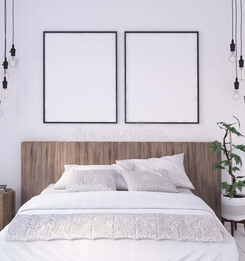 Modellplakatrahmen im Innenhintergrund des rustikalen Schlafzimmers stock abbildung