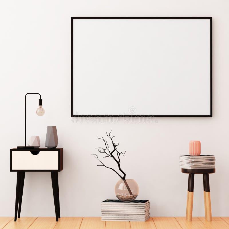 Modellposter im Rahmen auf einem hellen Hintergrund im Innenraum 3d lizenzfreie abbildung