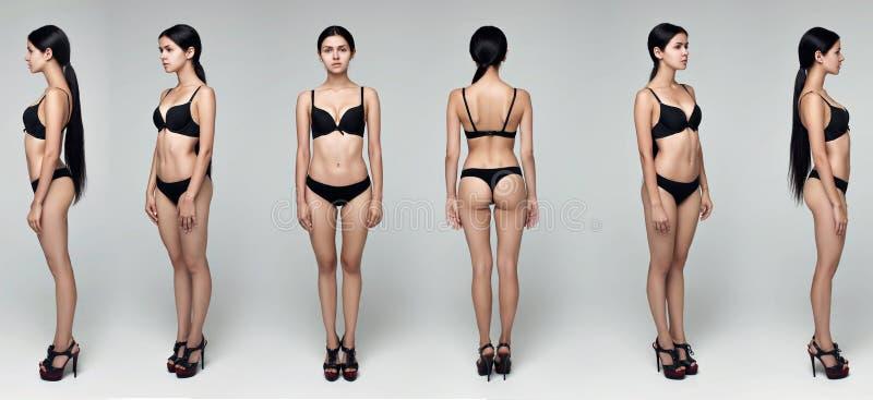 Modellprov som skjuter den yrkesmässiga modellen som poserar i studion royaltyfri fotografi