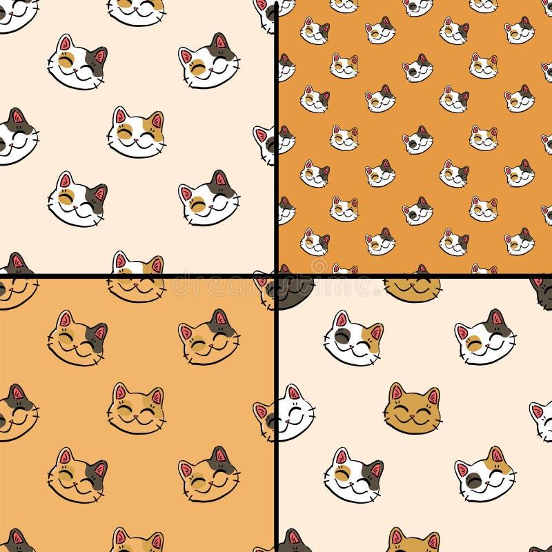 Modellsamling med den bläckiga lyckliga katten stock illustrationer