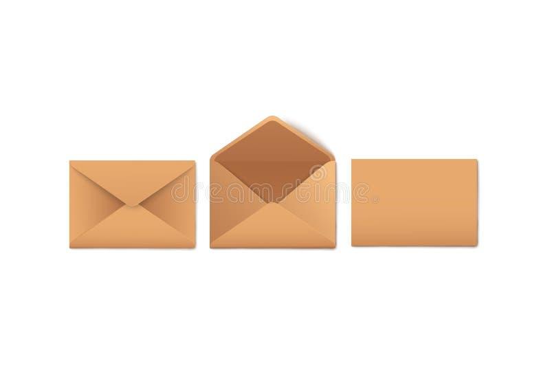 Modellsatz leeres geöffnetes und geschlossenes Kraftpapier schlägt realistische Art ein stock abbildung