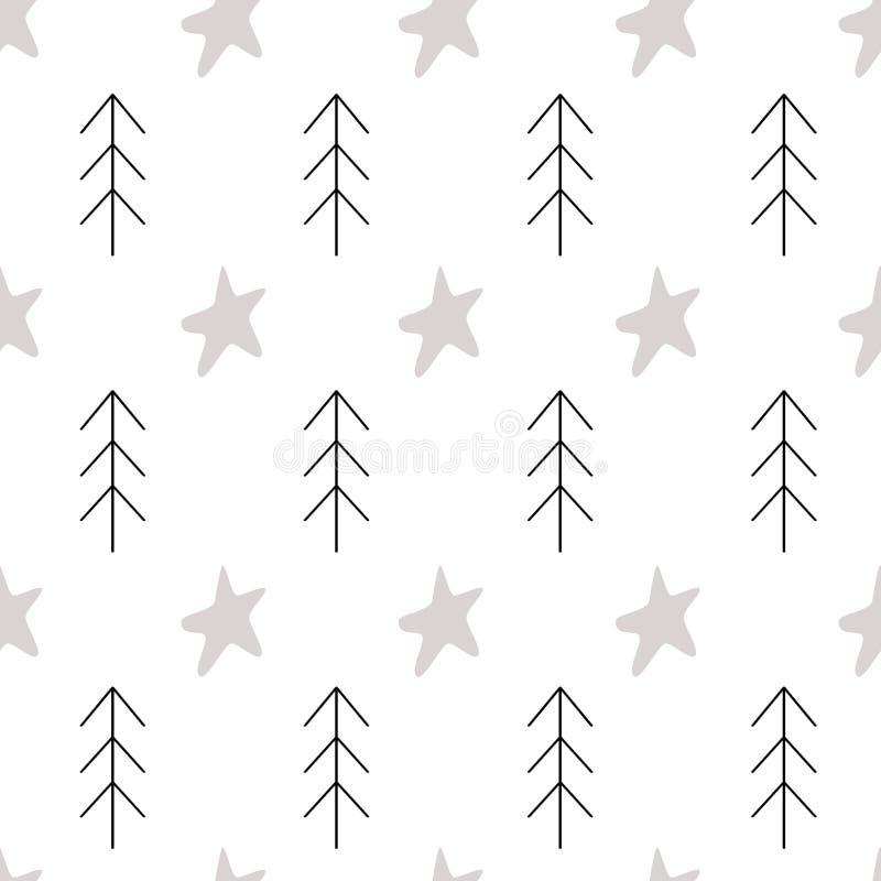 Modellskandinavet lurar beståndsdelar för träd för gran för klotterbeståndsdelar monokromma och stjärnabakgrund vektor illustrationer