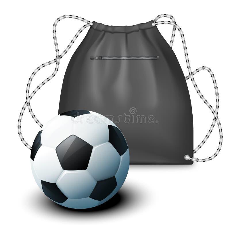 Modellsport Rucksack und ein Fußball Vektorillustration in einer realistischen Art stock abbildung