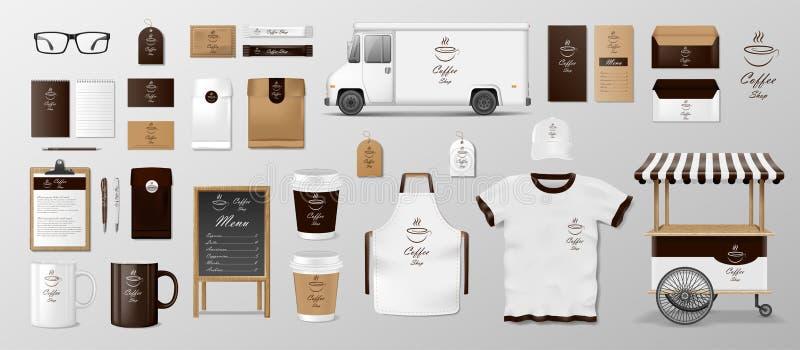 Modelluppsättning för coffee shop, kafé eller restaurang Kaffematpacke för design för företags identitet Realistisk uppsättning a stock illustrationer