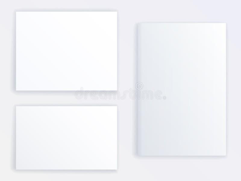 Modellvektor von drei leerem Poster oder von Broschüren von verschiedenen Größen Realistischer Spott oben vektor abbildung