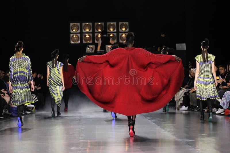 Modellweg die Rollbahn während der Issey Miyake-Show lizenzfreies stockbild