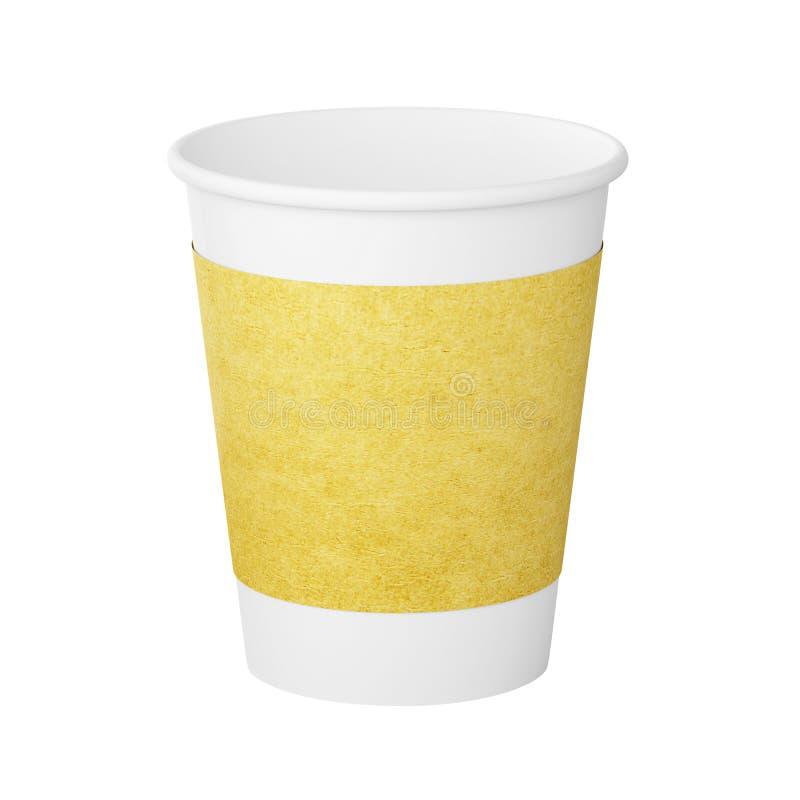 Modellwitepapper-Kraft kopp som isoleras på en vit illustration för bakgrund 3d vektor illustrationer