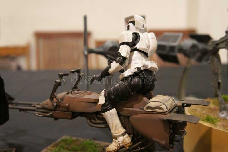 Modelo à escala do exército dos soldados de tempestade do filme de Star Wars foto de stock