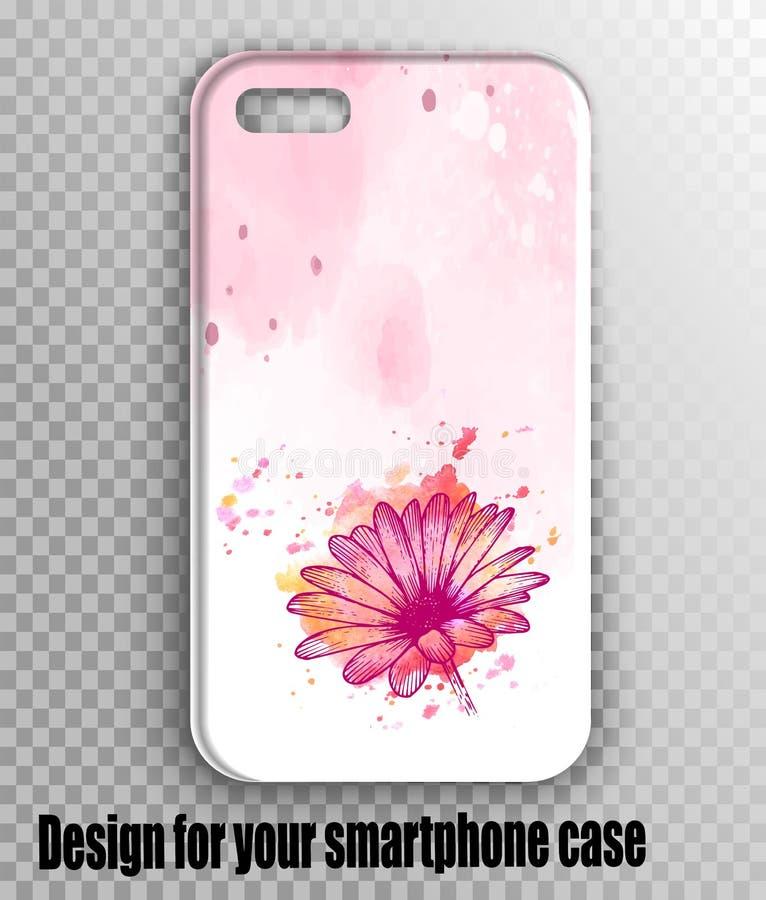Modelo à moda da tampa do iphone do vetor - cópia do rosa da aquarela com flor do gerbera fotografia de stock royalty free