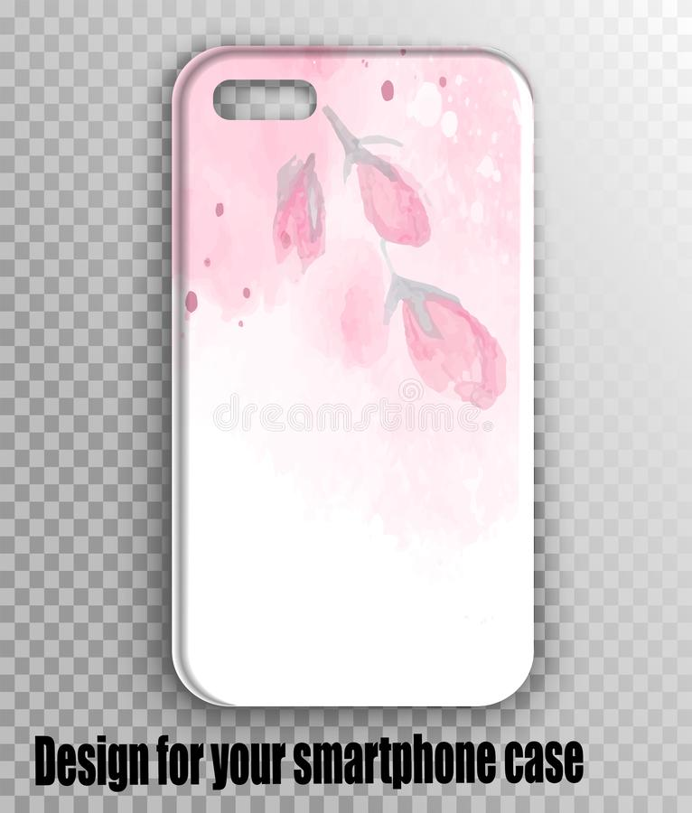 Modelo à moda da tampa do iphone do vetor - cópia do rosa da aquarela com flor do gerbera ilustração stock