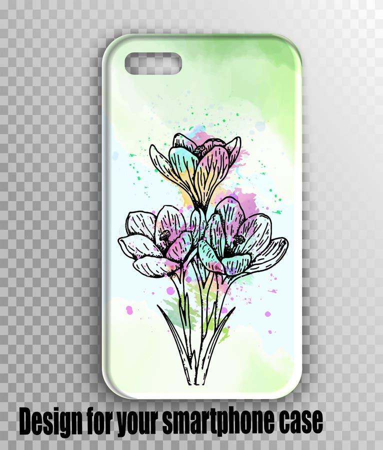 Modelo à moda da tampa do iphone do vetor - verde da aquarela, cópia fresca da mola com flores fotografia de stock royalty free