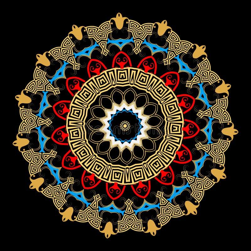 Modelo étnico colorido de la mandala del vector griego Fondo ornamental con el marco floral redondo Formas geom?tricas, c?rculos, ilustración del vector