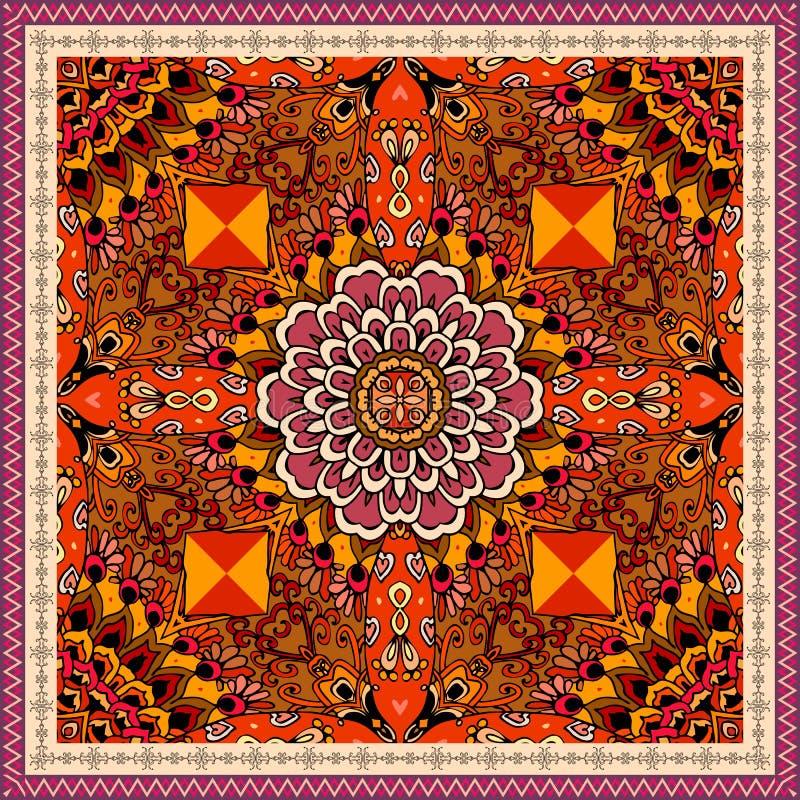 Modelo étnico con la flor roja y el marco ornamental Chino, motivos mexicanos, aztecas Ilustración del vector La alfombra, pañuel ilustración del vector
