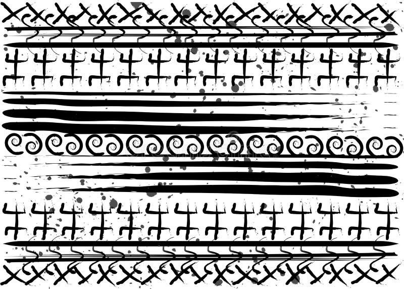 Modelo étnico del Afro Símbolos geométricos hechos a mano y rayas horizontales Diseño blanco y negro de la impresión para sus mat libre illustration