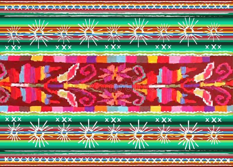 Modelo étnico del arte tribal étnico mexicano del bordado Fondo de repetición geométrico de la manta del extracto popular mexican stock de ilustración