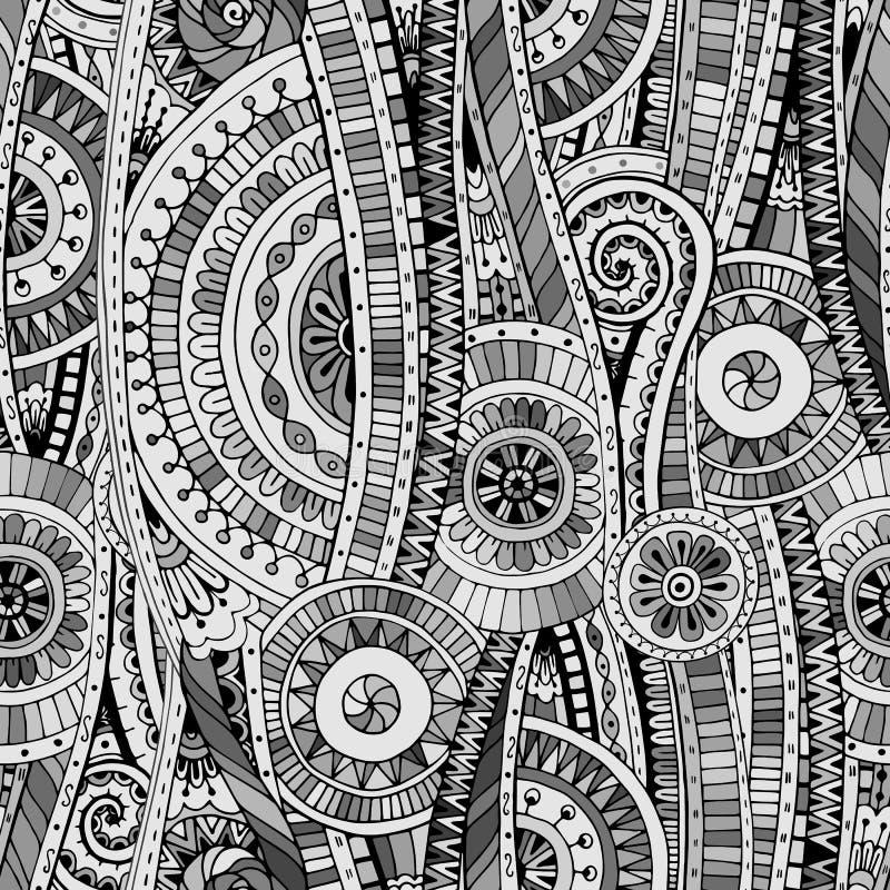 Modelo étnico del doddle tribal inconsútil del mosaico ilustración del vector