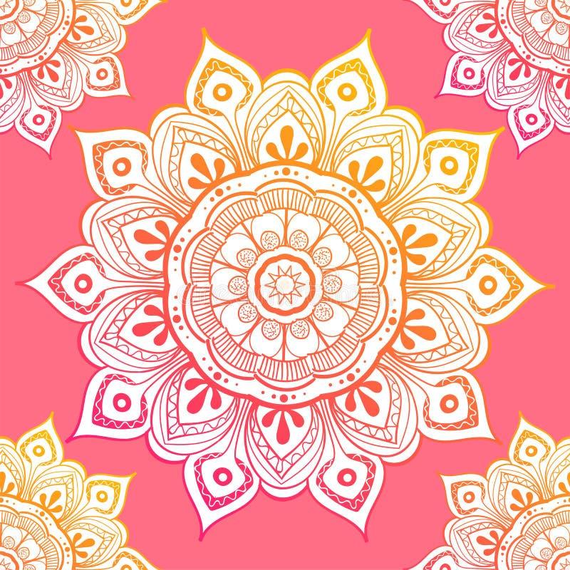 Modelo étnico inconsútil con motivos florales La mandala estilizó la plantilla de la impresión para la tela y el papel Diseño ele ilustración del vector