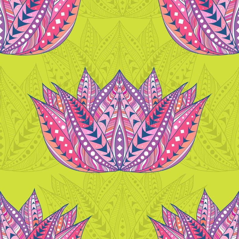 Modelo étnico inconsútil de Lotus Estilo tribal Fondo de Boho con la flor de loto Ilustración del vector stock de ilustración