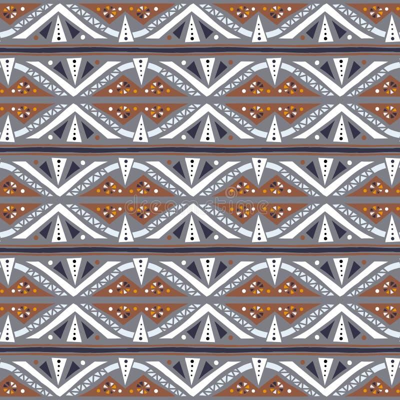 Modelo étnico rayado geométrico del vector con los triángulos ilustración del vector