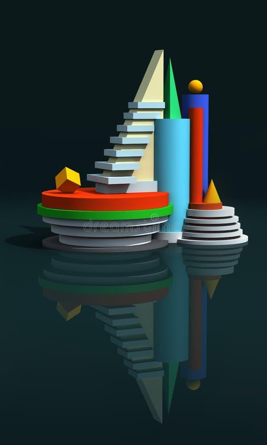 Modelo 3d arquitectónico imagem de stock