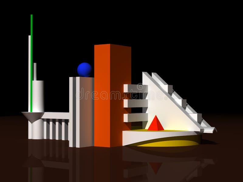 Modelo 3d arquitectónico imagens de stock royalty free
