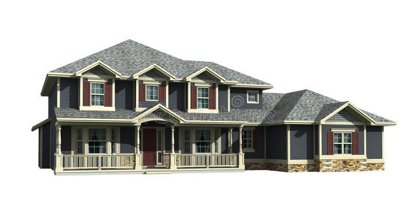 modelo 3d da casa de dois níveis ilustração do vetor