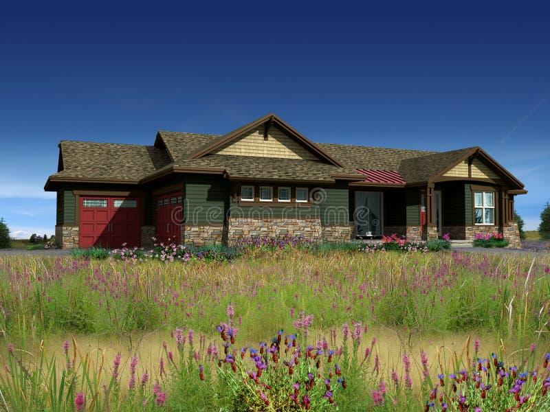 modelo 3d da casa de rancho imagem de stock