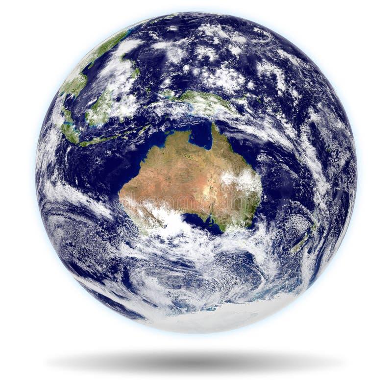 modelo 3d da terra: Opinião de Austrália e de Nova Zelândia fotografia de stock