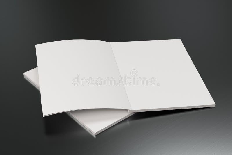 Modelo aberto do folheto do branco dois vazio no fundo escovado do metal ilustração royalty free