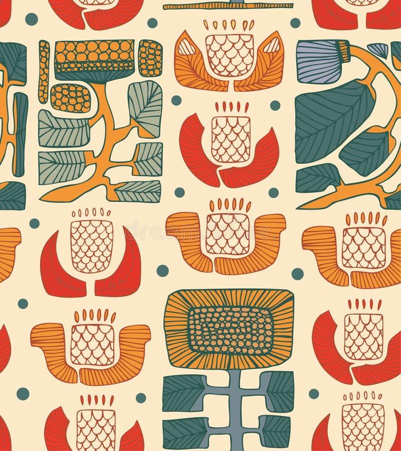Modelo abstracto étnico Fondo nacional floral Textura nativa abstracta ilustración del vector