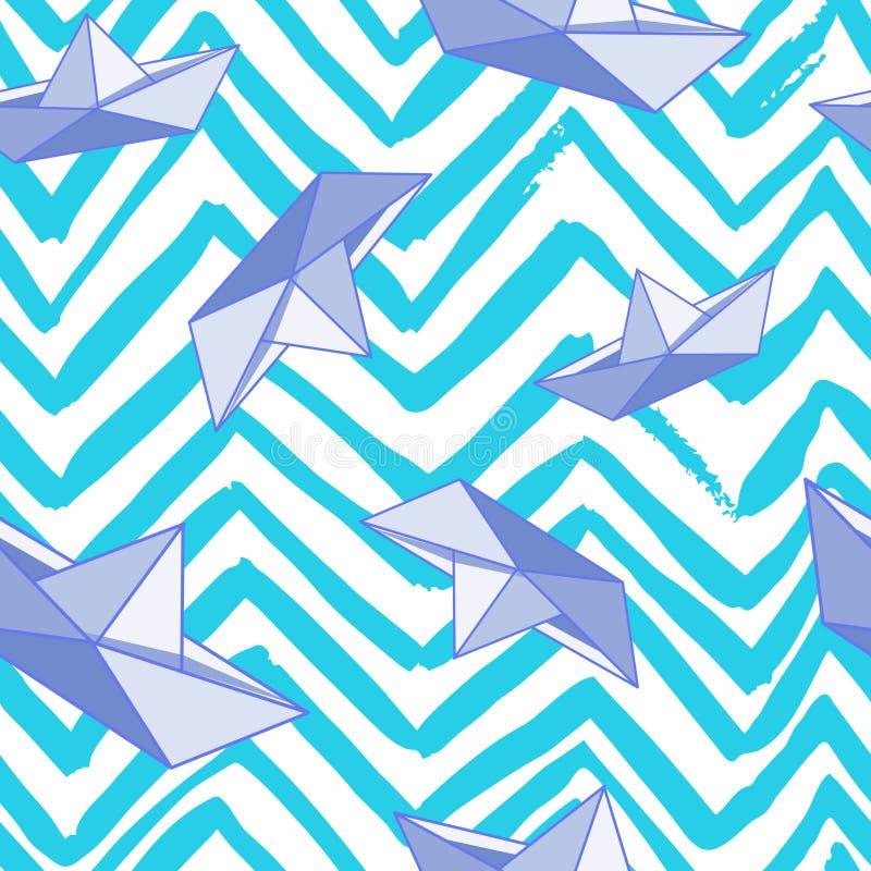Modelo abstracto con las líneas de papel del barco y del zigzag libre illustration