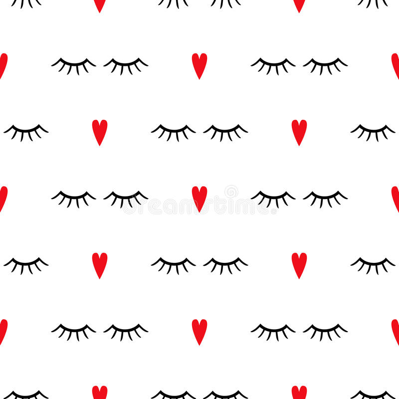 Modelo abstracto con los ojos cerrados y los corazones rojos libre illustration
