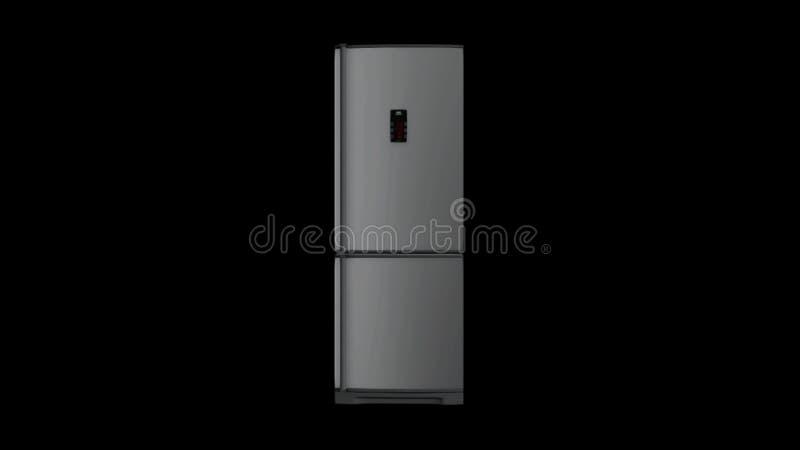 Modelo abstracto 3d del refrigerador moderno blanco con el panel electrónico que gira en el fondo negro animaci?n stock de ilustración