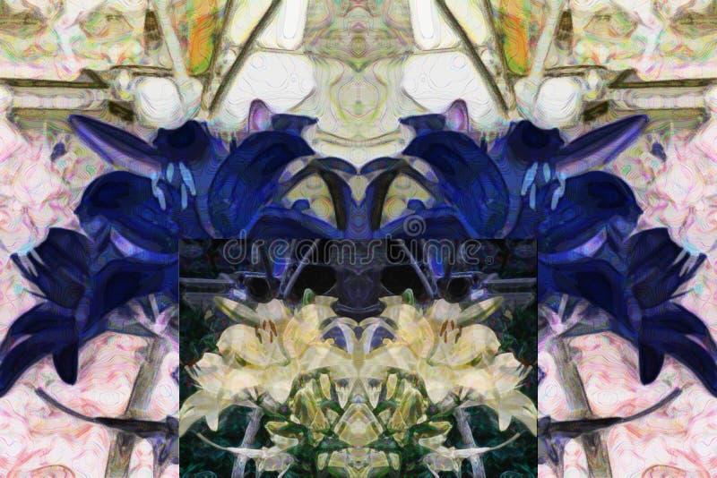 Modelo abstracto de elementos florales multicolores Interpretación de lirios amarillos libre illustration