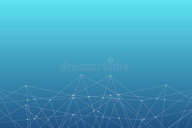 Modelo abstracto de la conexión del triángulo del vector Fondo geométrico de la red Estructura molecular Illustrati científico de libre illustration