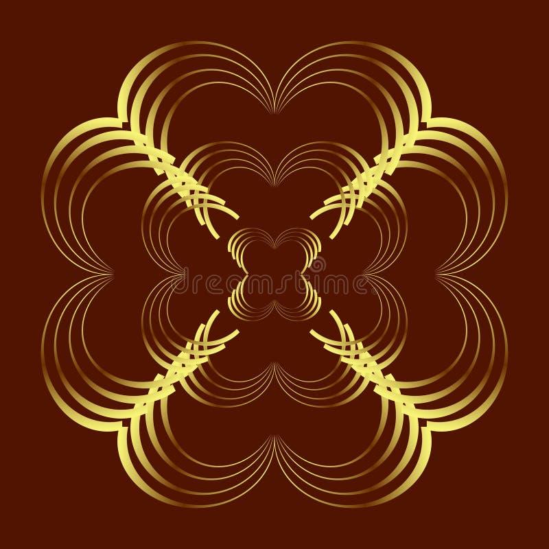 Modelo abstracto de la curva en el oro coloreado en fondo del marrón oscuro; corazón, formas de la flor Ilustración del vector ilustración del vector