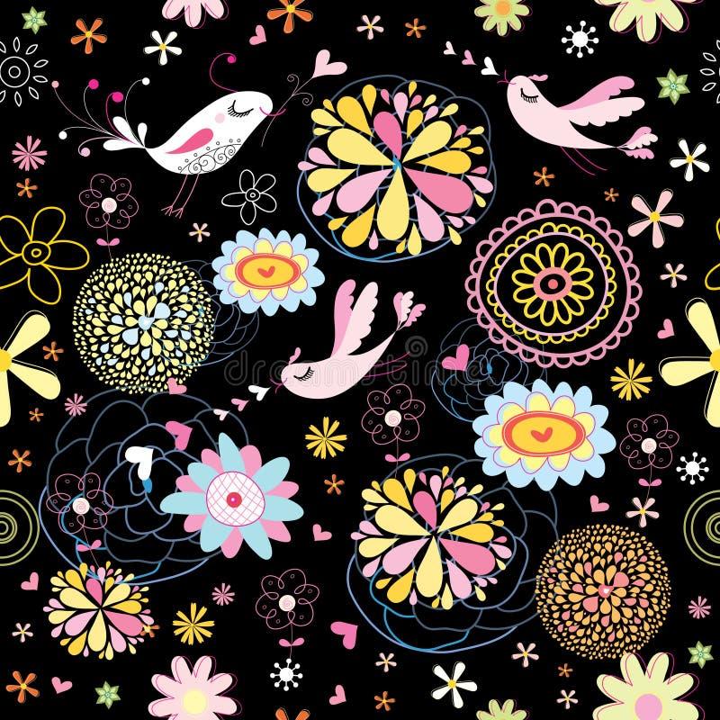 Modelo abstracto de la flor con los pájaros libre illustration