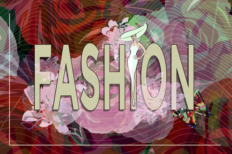 Modelo abstracto de la muchacha del bosquejo, vestido blanco, sombrero, moda del texto stock de ilustración