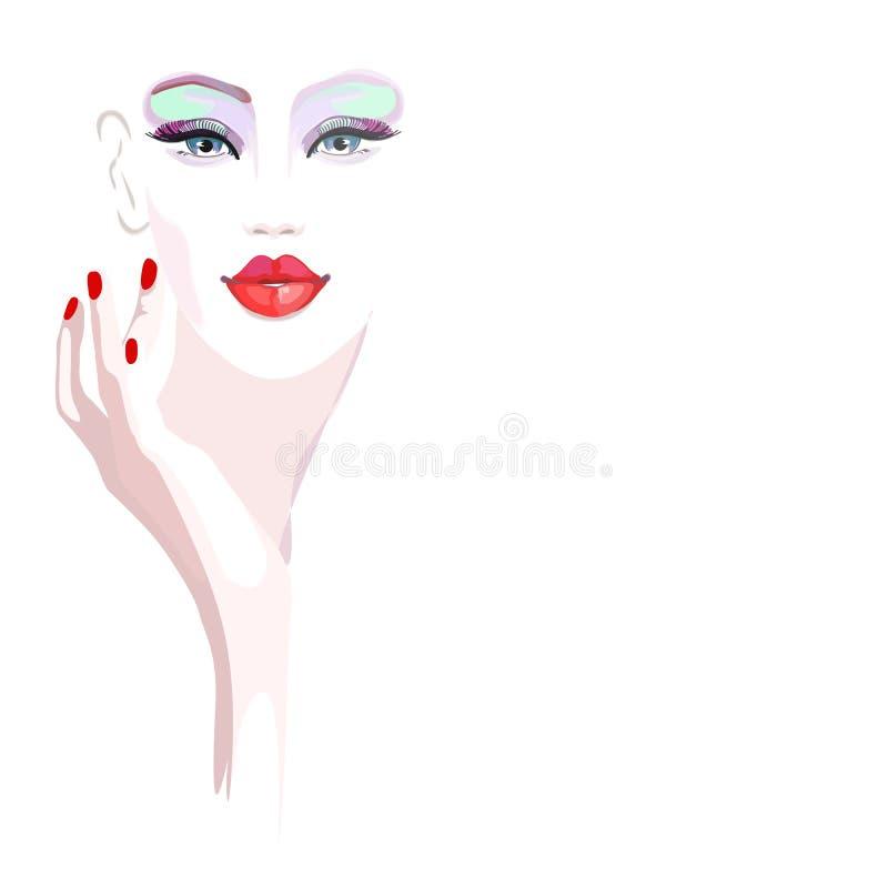 Modelo abstracto de la muchacha del retrato de la acuarela, moda stock de ilustración