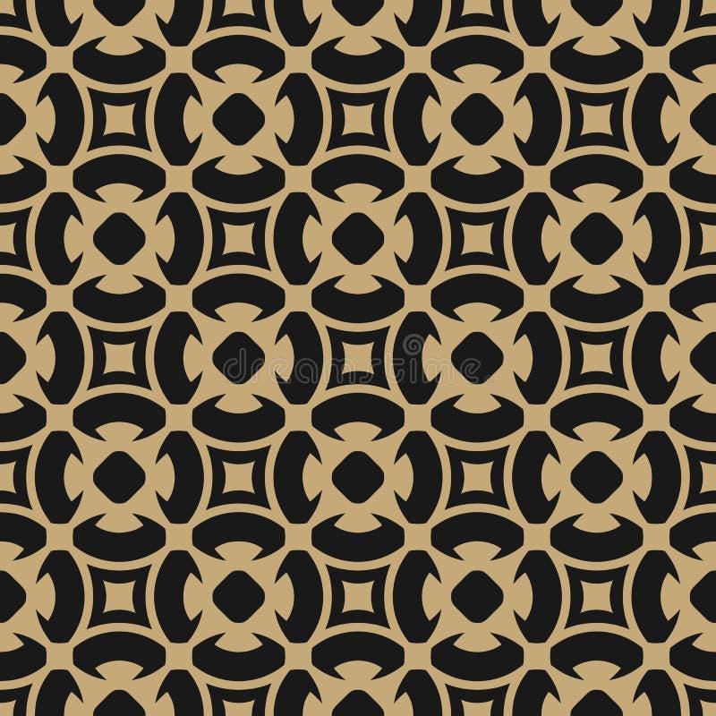 Modelo abstracto de oro en estilo árabe Oro y fondo floral inconsútil del negro libre illustration